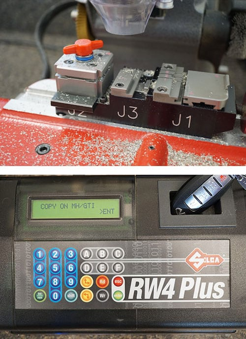 image of a laser key cutter (top), and a car key remote being programmed (bottom).