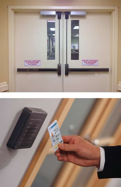 image of commercial doors with magnetic locks