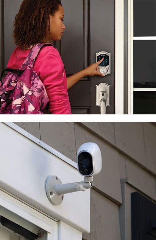 image of a young woman using a Smart Lock on her home's front door (top) and a wireless security camera mounted on a residential wall (bottom).