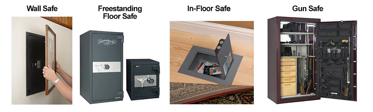 image of 4 types of safes: wall, freestanding floor safes, in-floor safe, and gun safes